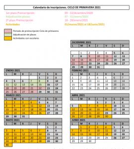 Calendario Primavera 2021